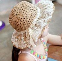 chapeau d'été fait à la main maman bébé enfants paille bébés enfant Fishman Cap dentelle bowknot lacées seau Hat Peaked plage Sunhat