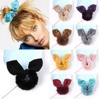 Yeni Peluş Tavşan Kulakları Scrunchie Kadın Kızlar Elastik Saç Kauçuk Bant Aksesuarları Kravat Saç Halkası Halat Tutucu Headdress