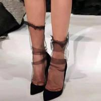 Chiffon Feminino Malha Transparente Lace Lace Socks.Ladies ultra-fino princesa gaze meias femininas meias.2 Cores