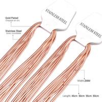 LuxUsteel 10pcs / lots Catene in acciaio inox Collane in oro rosa / lunghezza nera 18 pollici a 24inch tabulare serpente all'ingrosso collana