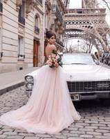 낭만적 인 홍당무 핑크 3D 꽃 투투 웨딩 드레스 2019 섹시한 뒤로 V 넥 비치 웨딩 드레스 샴페인 레이스 웨딩 드레스