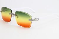 더블 행 큰 돌 폭풍없는 흰색 판자 3524012 선글라스 큰 사각형 안경 UV400 골드 금속 프레임 안경