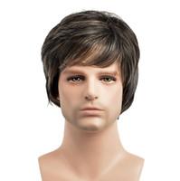 Mens Side Franse Perücke Hübsche Männer Kurze Gerade Braun Synthetische Hitzebeständige Cosplay Party Haarperücken FZP211