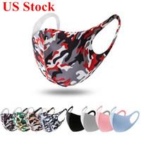 US Stock de protection Masques visage Soie Ice Camo Imprimer anti-poussière / PM2,5 Respirabilité Lavable bouche Designer Masques DHL Livraison