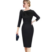 Donna Autunno LCW nuovo modo pieghettato elegante arco asimmetrico del collo 3/4 Slim Sleeve Office Work business Cocktail Party Dress Guaina