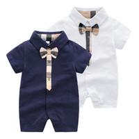 아기 rompers 아기 소년 격자 무늬 밧줄 넥타이 jumpsuits 유아 키즈 옷깃 짧은 소매 면화 등반 의류 패션 신생아 아이 기저귀 F5487