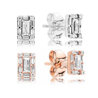 18K Rose Gold Square Crystal Stud Earring Caja original para Pandora 925 Silver Crystal CZ Diamond Earrings Set para Mujeres accesorios de moda