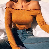 Seksi Kapalı Omuz T Gömlek Kadınlar Topraklar Renk Kırpılmış Üst Nervürlü Uzun Kollu Tişört Ince Bodycon Pamuk Üstleri T-shirt Chemise Femme