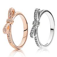 Shiny-Bogen-Ring für Pandora Sterlingsilber 925 CZ-Diamant-Rose Gold überzogen Valentinstag-Geschenk Original-Box Set Ring der Frauen