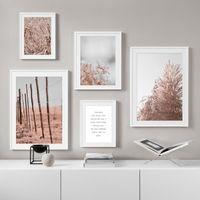 Розового вейник цветок завод Wall Art Picture Аннотация Красивого холст Плакат Печать Home Decor Фрески для гостиной