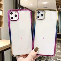 Gradyan Krom Yumuşak TPU Kılıf için iphone 11 Pro XS MAX XR X 8 7 Artı 6 SE 5 Kaplama elektrolizle Temizle Renkli Lüks Moda Telefon Kapak