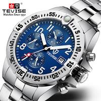 TEVISE Luxury Brand Men Automatic Mechanical Watch Mens Stainless steel Skeleton Waterproof Wristwatch Relogio Masculino +BOX