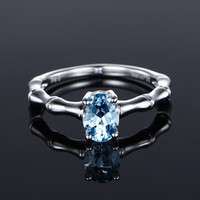 Ursprünglichkeit Bambus-Verbindungs-Ring Natürlicher Sea-blaue Ring-Überzug 18k Verlobungsring Frau Fund