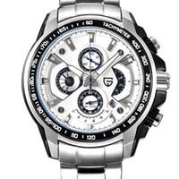 손목 시계 45 mm Pagani 디자인 화이트 다이얼 스톱워치 크로노 그래프 석영 스포츠 시계 스테인레스 스틸 다기능 남자