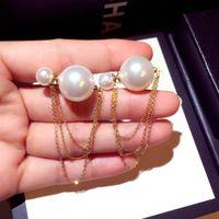 Neue trendige Mode Luxus-Designer-netter reizender doppelseitiger Perlenkettenohrstecker für Frau Mädchen