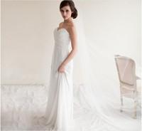 Barato 2020 véus nuporos de marfim branco, 1,5 * 3m longa uma camadas com pente véu de casamento de tule macio simples