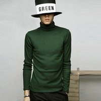 Mens Winter Autumn Sweaters High Neck Solid Color Cutton Ble...