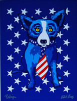 George Rodrigue Blue Dog Star Spangled Home Decor Handpainte...