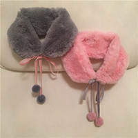 Kids pompon Fur Collar Girls sweet Autumn Winter plush Warm ...