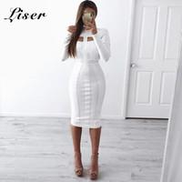 Liser 2019 novo verão mulheres dress gola bandage dress sexy bodycon elegante festa de festa vestidos brancos vestidos atacado