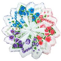 Ev Tekstil sıcak% 100 Pamuk Mendil Kesici Bayanlar Mendil Craft Vintage Hanky Çiçek Düğün Mendil 30 * 30cm Rastgele Renk S