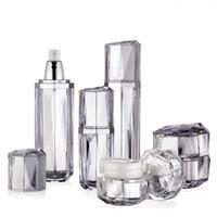 Free DHL Diamond Acrylic, botella de crema de pasta de plata caliente, botella de cuidado de la piel, botella cosmética, látex, paquete cosmético.