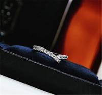 tachonada de mano H y W joyería Anillo de plata 925 de perforación de diamante cuadrado de la mujer del anillo del envío libre del regalo