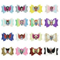 Girl Hair Bows 3. 5 inches Surprise kit Colorful Shines Sequi...