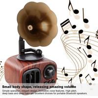 2019 New AS90 en bois Rétro phonographe Haut-parleur Bluetooth Literary Caisson de basses sans fil Mini classique Haut-parleur Super Bass Haut-parleurs stéréo