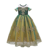 Anna Green Dress For Girl Summer Lace Tulle Snow Queen Princ...