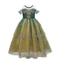 Disfraces de encaje de tul vestido de Anna Verde Para Summer Girl Snow Queen princesa de fantasía 2-10T fiesta de cumpleaños de los niños del vestido de Fluffly Por Epacket