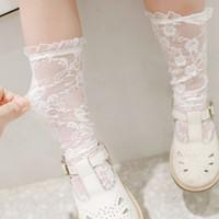 Été bébé filles dentelle chaussettes brodées enfants genou haut chaussettes hautes chaussettes kids dentelle robe chaussettes A31080000