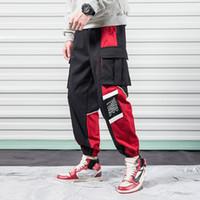 2019 Скидка Только сегодня Брюки-карго для мужчин с черным принтом Multi-Pocket Harajuku Японский дизайнер Jogger Летние мужские брюки-гарем