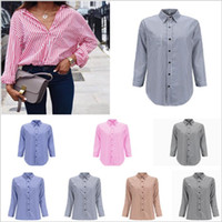 Kadın Giyim Gömlek Çizgili Casual Gömlek Tasarımcısı Uzun Kollu Bluzlar Moda Ince Iş OL Blusas Ofis Giyim Vestidos B4793 Tops