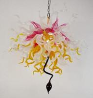 Rosa extravagante Sombra Cor Girls Room Decor LED Light Handmade Blown Lustres Cadeia de vidro Lustre e luzes pingente