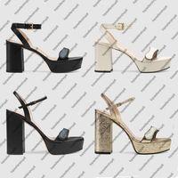 Frauen Chunky High Heel Platform Knöchel Sandal Einstellbar Strappy Calf Leder Schuhe Doppel Metall Schnalle Dame Sommer Party Kleid Hochzeitsschuhe
