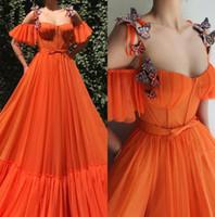 2019 Orange Rot Spaghetti-Träger Tulle einer Linie Lange Abendkleider 3D Blumenspitze Butterfliege wulstige Fußboden-Längen-formale Partei-Abendkleider