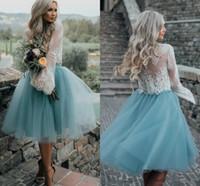 Corta dos piezas vestidos de dama de honor 2020 joyas de manga larga de la rodilla longitud de encaje superior país boda vestido de invitado dama de honor vestidos cielo azul