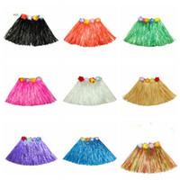 40cm del bebé Hula Faldas Niños Chicas Hawaiian Luau Grass faldas de los niños tropicales elástico bailarín Faldas favores de partido de una sola capa