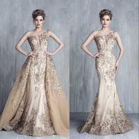 Royal Empire Haute Couture vestido de noche con el tren desmontable cordón de lujo del Applique exquisito de la tarde del partido Vestidos Vestido de festa