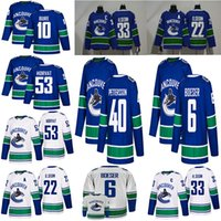 2018-2019 Hombres Vancouver Canucks # 40 Elias Pettersson Camisetas de hockey cosidas # 6 Brock Boeser # 53 Bo Horvat Vancouver Canucks Jersey