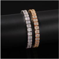 Nuovo Hip Hop Braccialetti del diamante pieno di chiodo Micro Bracciale Ciondolo Cubic monili del braccialetto degli uomini di rame zirconia diamante Miami cubana