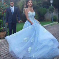 2020 Sexy See Through Ocean Blue Prom Dresses with Lace Appl...