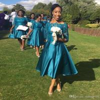 WAISHIDRESS Tee Länge Kurze Brautjungfer Kleider mit halben Ärmeln A-Line Sheer Bateau Hochzeit Gastkleid Vintage Lace Brautjungfer Kleid