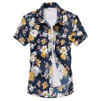 Летние мужские рубашки Гавайи Стиль Цветочные Печатается с коротким рукавом Мужской Tshirts нагрудные Шея Отдых Повседневный мальчиков Beachwears