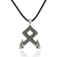 Rune Wolf Head Schlangenkörper Wikinger Anhänger Odal mit Wolfsköpfen Viking Men Amulet Necklace
