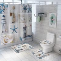 Трансграничные New Sea Star Ocean печати занавеска коврик четыре шт набор коврик для ванной комплект перегородка занавес Amazon горячей продажи ванной
