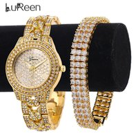 Lureen HIP HOP IFED OUT GOLD QUARTZ WATCH POUR MEN 3 RANGE Tennis Cubic Zircon Bracelet Montre Ensemble de bijoux Cadeau W0021