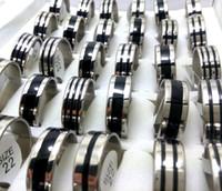 lot venden al por 100pcs anillos del acero inoxidable banda superior Mix Negro esmalte 316L 8mm dedo anular mujeres de los hombres del anillo de la joyería caliente de nuevo
