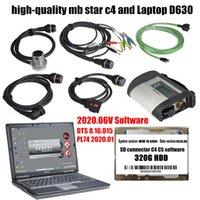 2020 OBD2 Scanner MB Estrela C4 e Laptop D630 e HDD com software de diagnóstico de carro 2020.06V, ferramentas de diagnóstico que suportam WiFi para Benz